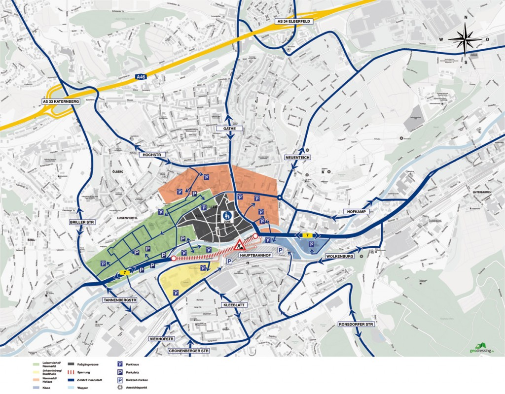 ATN Rechtsanwälte – Anfahrt bei Sperrung der B7 in Wuppertal